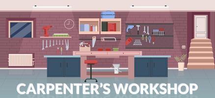 modelo de vetor plano de banner oficina de carpinteiro