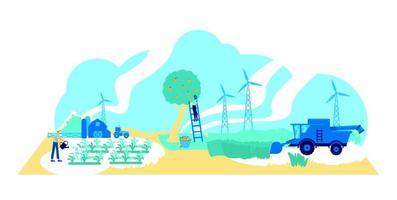 ilustração em vetor conceito plano de agricultura futurista
