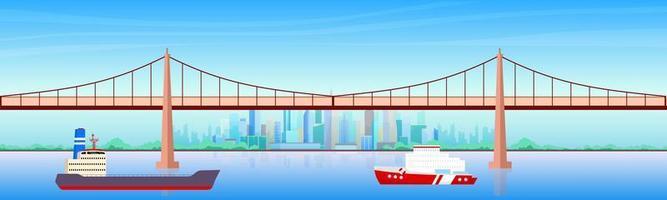 ilustração em vetor cidade porto cor plana