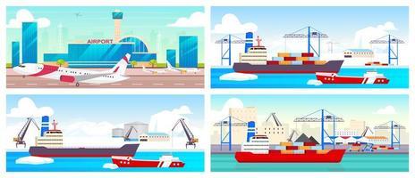 conjunto de ilustrações vetoriais em cores planas de aeroportos e portos marítimos vetor