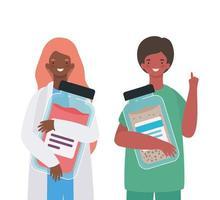 mulher e homem médico com uniformes e design de vetor de frasco de remédio