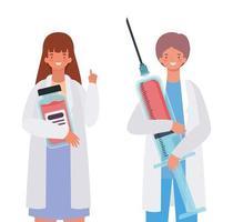 mulher e homem médico com injeção uniforme e design de vetor de frasco de remédio