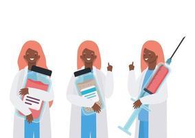 mulheres médicas com uniformes de injeção e design de vetor de potes de remédios