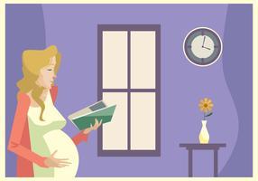 Jovem, grávida, mulher, lendo, livro, frente, Janela, tarde, vetorial