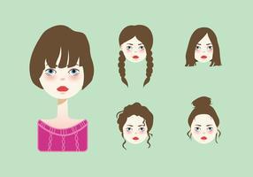 Vetor de penteado de menina