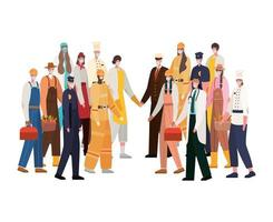 trabalhadores masculinos e femininos com desenho vetorial de máscaras vetor