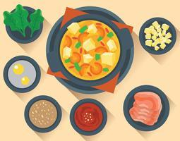 Hotpot + Ingredientes Ilustração vetor