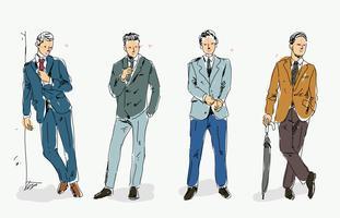 Esboço do modelo de moda do smoking Ilustração desenhada mão do vetor