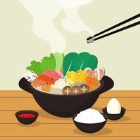 Hotpot e ilustração de ingredientes vetor