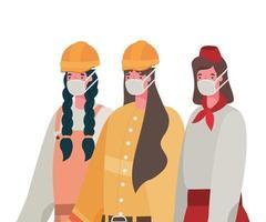 mulheres construtoras e garçonete com máscaras de desenho vetorial