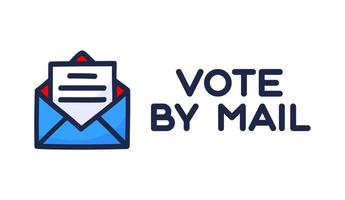 votar por ilustração vetorial de correio. conceito de ficar seguro para a eleição presidencial de 2020 nos Estados Unidos. modelo para plano de fundo, banner, cartão, pôster com inscrição de texto. vetor