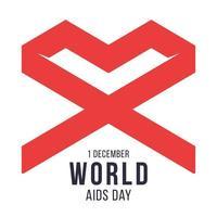 Dia Mundial da Aids 1 de dezembro Símbolo da fita do laço geométrico vermelho esperança e apoio. forma de coração vermelho. ilustração vetorial