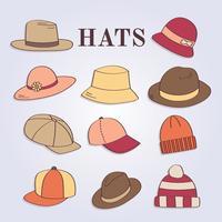 Vector de chapéus femininos e masculinos