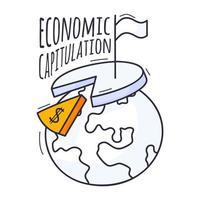 o conceito de crise econômica. a ilustração do vetor é desenhada à mão em estilo doodle. planeta Terra com um gráfico, um cifrão e uma bandeira branca de rendição