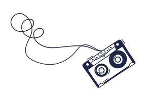 mão desenho ilustração vetorial de cassete de áudio. rabiscar cassete de música em estilo doodle vetor