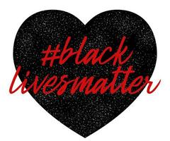vidas negras são importantes. formato de coração. não ao racismo. violência policial. parar a violencia. ilustração vetorial plana para banners, cartazes e redes sociais vetor