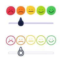 feedback ou escala de avaliação com sorrisos representando várias emoções no estilo de desenho de mão. revisão do cliente e avaliação do serviço ou produto. ilustração vetorial colorida em estilo doodle