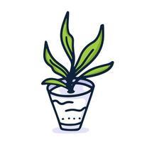mão planta em casa desenhar ícone no estilo cartoon sobre fundo branco. ilustração vetorial doodle