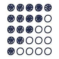 ícones de classificação de círculo, uma ilustração vetorial desenhada à mão de ícones de pontos para fins de classificação. vetor