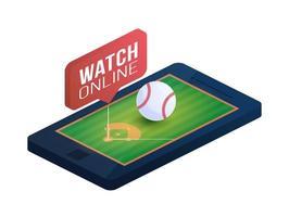 campo de beisebol na tela do telefone conceito on-line ilustração vetorial plana isométrica. conceito de vetor isométrico plana de beisebol online.
