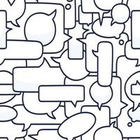 mão desenhada discurso bolhas sem costura padrão ilustração vetorial no fundo branco. Doodle talk ou chat padrão de bolha