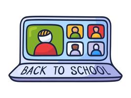 de volta ao conceito de educação on-line da escola com formação on-line de estilo de projeto de doodle de negócios, webinars. vetor