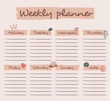 fundo de planejador semanal bonito com bolha de bate-papo, arco-íris, parafuso, nuvem, coroa e outros. ilustração vetorial para criança e bebê.