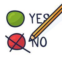 um lápis que marca a opção no. uma ilustração de doodle desenhado à mão que mostra uma má decisão ou uma escolha negativa.