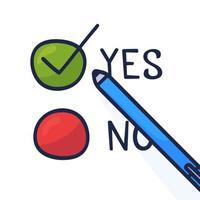 caneta doodle escrever sim votar em um boletim de voto. ilustração plana do conceito com sinal de verificação de estilo cartoon de mão desenhada. elemento de infográfico de vetor isolado para web, apresentação, brochuras.