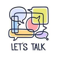ilustração vetorial bolhas do discurso de diálogo com ícones e texto, vamos falar sobre fundo branco. conceito de tecnologia de comunicação de segurança. design plano de arte de linha fina de tecnologia móvel