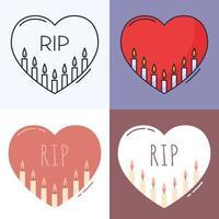 velas dentro do conjunto de ícones de contorno de coração. o conceito de luto, perda, morte. ilustração vetorial desenhada à mão em estilo doodle