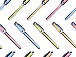 padrão de canetas coloridas no estilo cartoon. textura perfeita com canetas. elementos do vetor doodle. de volta ao fundo da escola. esboço desenhado de mão.