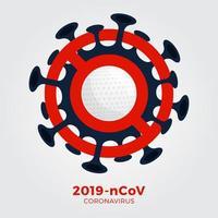 vetor golfe sinal cautela coronavirus. parar o surto de ncov de 2019 perigo de coronavírus e risco de saúde pública, doença e surto de gripe. cancelamento de eventos esportivos e conceito de partidas