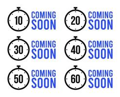 conjunto de temporizadores simples. em breve ou conjunto de ícones de vetor de temporizador de contagem regressiva. ícones de cronômetro definidos em estilo simples, relógio temporizador digital e relógio. ilustração vetorial