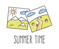 mão desenhada ilustração vetorial de uma galeria de imagens e texto, horário de verão. fotografia de doodle de desenho animado com paisagem de montanha e campo. isolado no fundo branco. vetor