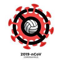 vetor de voleibol sinal cautela coronavirus. parar o surto de ncov de 2019 perigo de coronavírus e risco de saúde pública, doença e surto de gripe. cancelamento de eventos esportivos e conceito de partidas