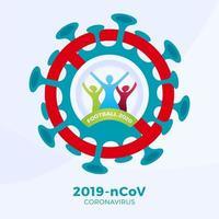 vetor de futebol 2020 sinal cautela coronavirus. parar o surto de ncov de 2019 perigo de coronavírus e risco de saúde pública, doença e surto de gripe. cancelamento de eventos esportivos e conceito de partidas