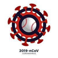 vetor de beisebol sinal cautela coronavirus. parar o surto de ncov de 2019 perigo de coronavírus e risco de saúde pública, doença e surto de gripe. cancelamento de eventos esportivos e conceito de partidas
