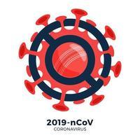 vetor de bola de críquete sinal cautela coronavirus. parar o surto de ncov de 2019 perigo de coronavírus e risco de saúde pública, doença e surto de gripe. cancelamento de eventos esportivos e conceito de partidas