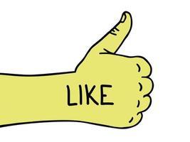 mão gosta. polegar para cima. mão desenhada como ícone do doodle. esboço desenhado de mão. símbolo do sinal.