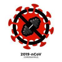 treino vetor ginásio sinal cautela coronavirus. parar o surto de ncov de 2019 perigo de coronavírus e risco de saúde pública, doença e surto de gripe. cancelamento de eventos esportivos e conceito de partidas