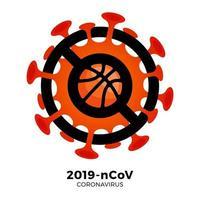 vetor de basquete sinal cautela coronavirus. parar o surto de ncov de 2019 perigo de coronavírus e risco de saúde pública, doença e surto de gripe. cancelamento de eventos esportivos e conceito de partidas