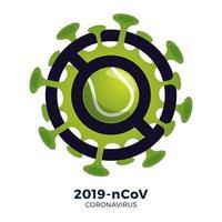vetor de bola de tênis sinal cautela coronavirus. parar o surto de ncov de 2019 perigo de coronavírus e risco de saúde pública, doença e surto de gripe. cancelamento de eventos esportivos e conceito de partidas