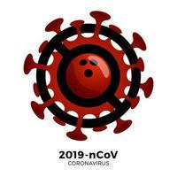 vetor de bola de boliche sinal cautela coronavirus. parar o surto de ncov de 2019 perigo de coronavírus e risco de saúde pública, doença e surto de gripe. cancelamento de eventos esportivos e conceito de partidas