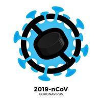 hóquei puck vector sinal cautela coronavirus. parar o surto de ncov de 2019 perigo de coronavírus e risco de saúde pública, doença e surto de gripe. cancelamento de eventos esportivos e conceito de partidas