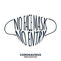 nenhuma máscara facial, nenhuma entrada protege e impede o coronavírus ou covid-19 vetor de sinal de aviso de letras de desenho de mão