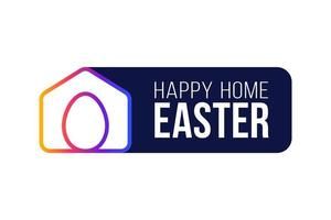 cartão de Páscoa 2020 em casa feliz com ícone minimalista de vetor engraçado. ficar em casa distintivo em quarentena. reação covid-19.
