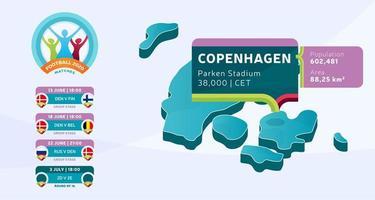 mapa isométrico do país da Dinamarca marcado no estádio de copenhague, que será realizada ilustração vetorial de jogos de futebol. infográfico da fase final do torneio de futebol 2020 e informações do país