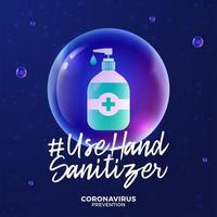 futurista usar desinfetante para as mãos durante o conceito de surto de coronavírus. conceito de prevenção da doença covid-19 com células de vírus, bola realista brilhante sobre fundo azul vetor
