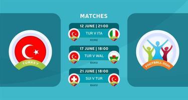 programação de jogos da seleção nacional da Turquia na fase final do campeonato europeu de futebol de 2020. ilustração vetorial com o cascalho oficial das partidas de futebol.